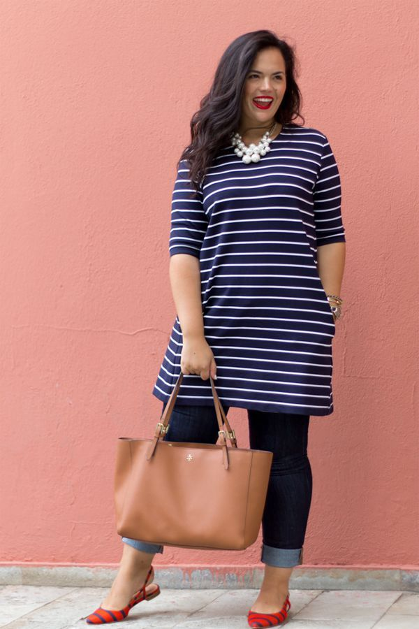 Striped dress/tunic with boyfriend jeans, red shoes, pearls and cognac bag