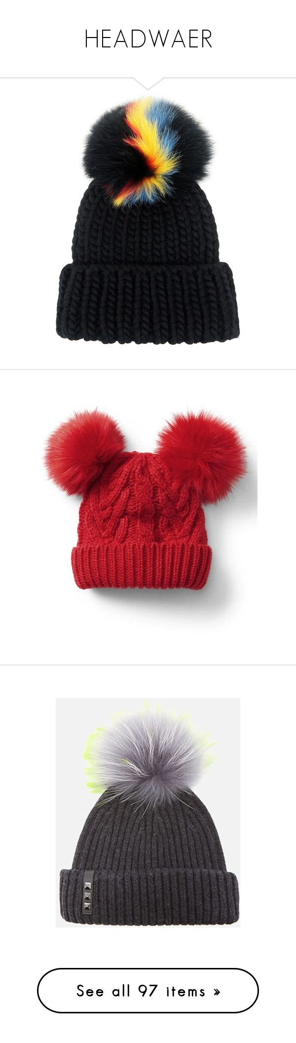 """""""HEADWAER"""" by fashionbavyblue ❤ liked on Polyvore featuring accessories, hats, beanie, pom pom hats, fur pom pom hat, colorful hats, fur beanie, fur beanie hat, headwear and modern red"""