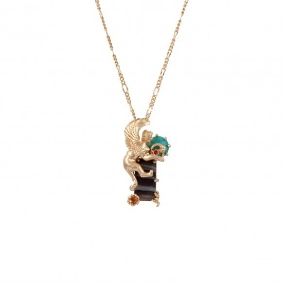 Sphinx and reconstituted stone necklace