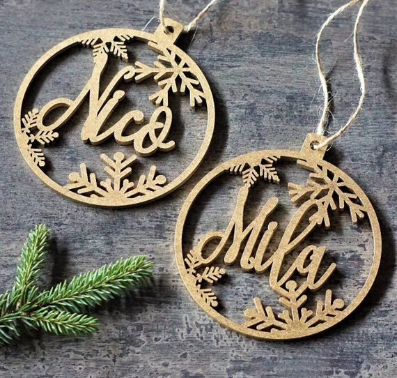 Personalised Angel Christmas Tree Decoration Baubles Wood name gift tags decor