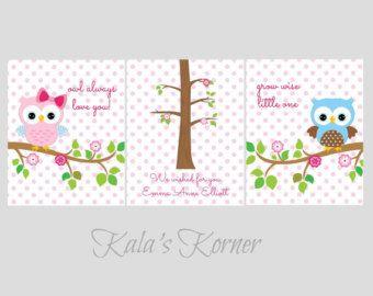 OWL NURSERY ART Owl Nursery Decor Woodland by KalasKorner