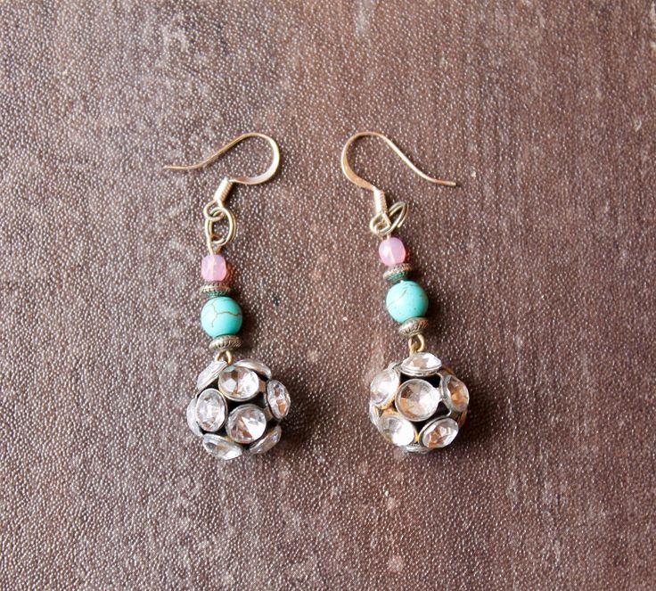Cowgirl chic pink and turquoise rhinestone earrings latest addition to my #etsy shop.