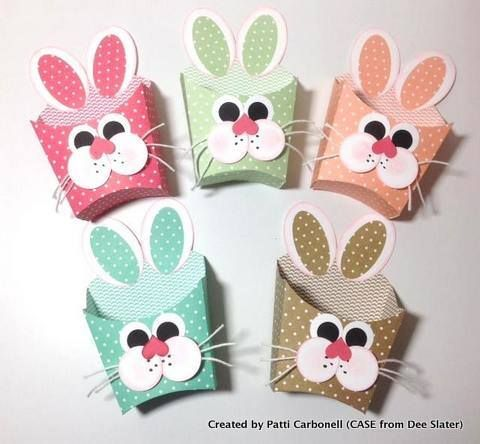 'HAPPY EASTER for those celebrating today! A family walk and brunch are on our agenda. How about you? Loved these french fry box bunnies in the 2013-2015 In Colors. Created by Patti Carbonell and a CASE from Dee Slater!'