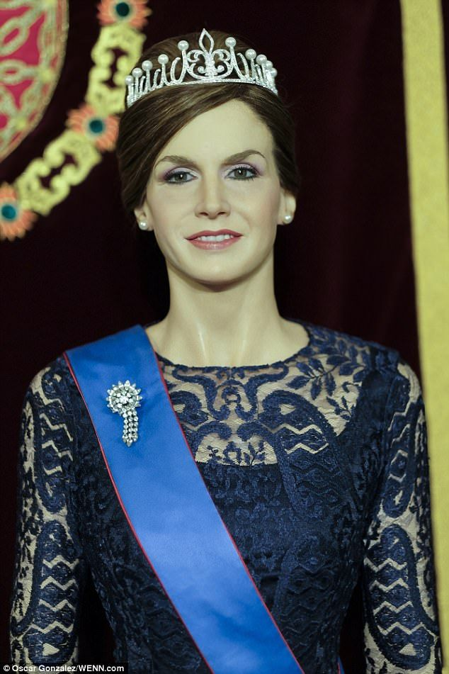 New addition: The latest wax figure has been designed to reflect Queen Letizia's changing appearance since her coronation in July 2014, according to Madrid's Museo de Cera