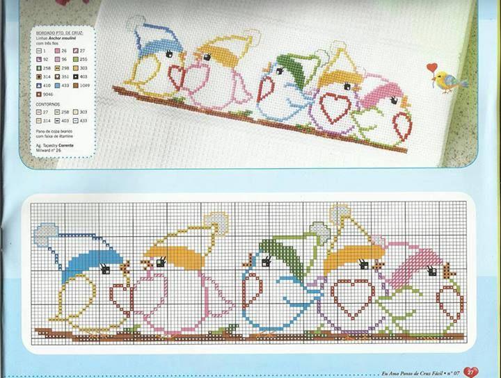 bordo uccellini baby animali punto croce lenzuolino copertina