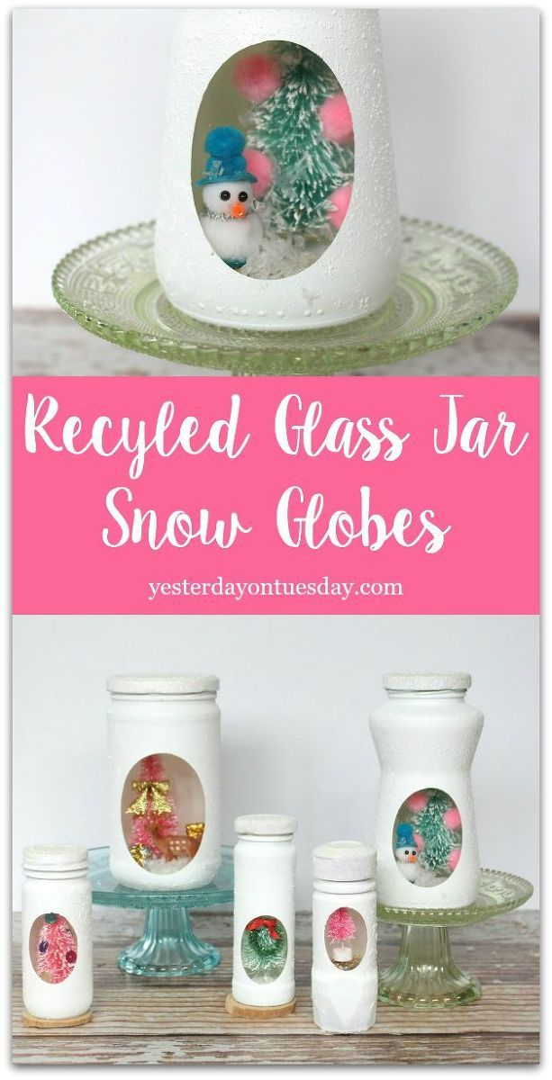 Start saving those spaghetti sauce, salsa and small spice jars, they make perfect snow globes for winter and Christmas. #christmas #recycling #masonjars #snowgl…