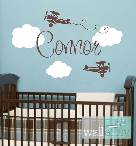 """Airplane Wall Decals - Airplane Cloud and Personalized Name Vinyl Wall Decal for Boy Baby Nursery or Boys Room 22""""H x 36""""W Wall Art FS359 on Etsy, $45.00"""