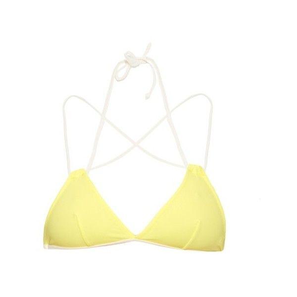 Solid & Striped The Lily bi-colour triangle bikini top ($41) ❤ liked on Polyvore featuring swimwear, bikinis, bikini tops, bikini, swim, yellow, triangle bikini swimwear, tankini swim tops, triangle bikini and bikini swimwear