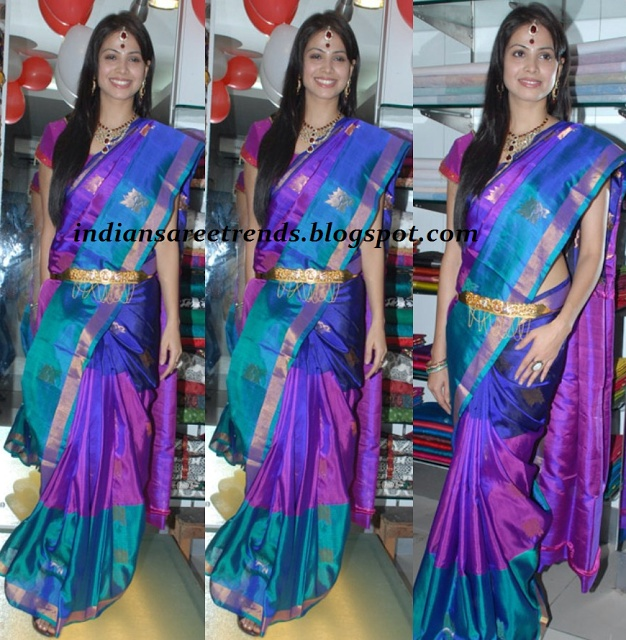 Latest Traditional and Designer Sarees: Supriya Sailaja with multiple colour uppada pattu saree
