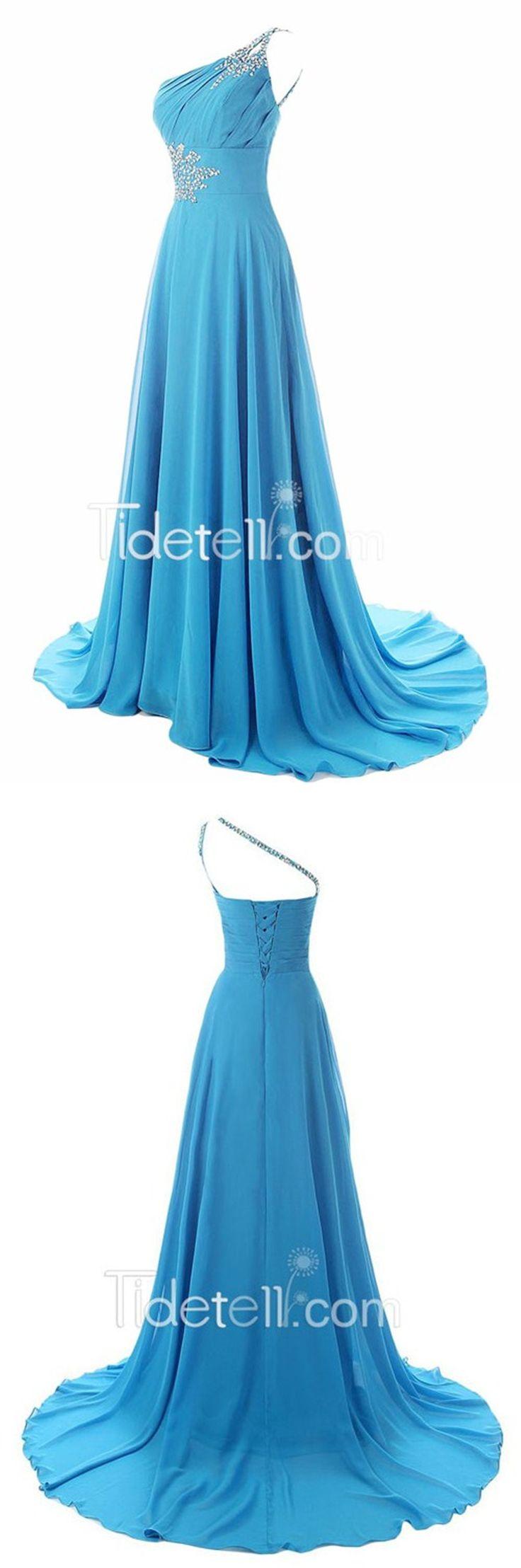 bridesmaid dress,long bridesmaid dress,baby blue bridesmaid dress,sweep train…