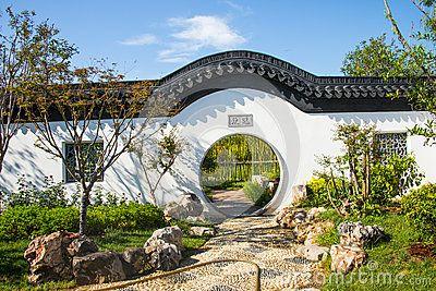 Asia China, Wuqing, Tianjin, Green Expo, Garden architecture,White wall, circular door