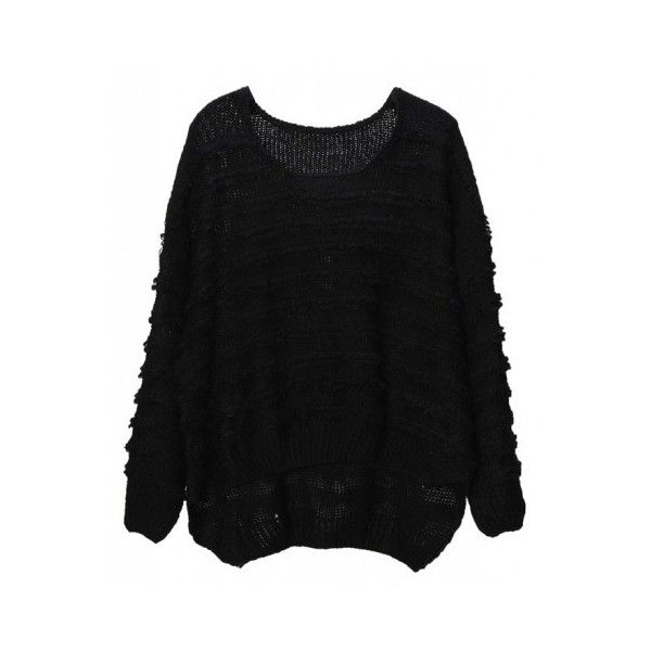 Asymmetric Loose Round Neck Black Pullover Sweater (159.295 COP) ❤ liked on Polyvore featuring tops, sweaters, indressme, asymmetrical sweaters, loose tops, round neck sweater, round neck top and asymmetrical tops