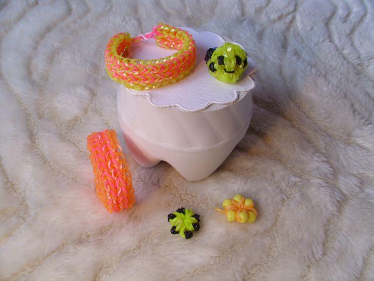 Rainbow loom karkötők, gyűrű és virágok