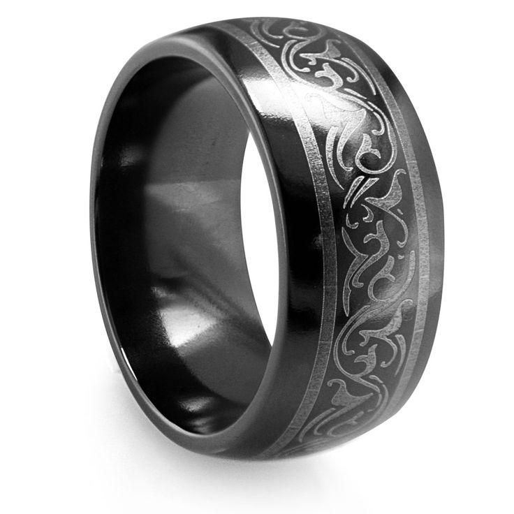 Unique Black Titanium Wedding Bands