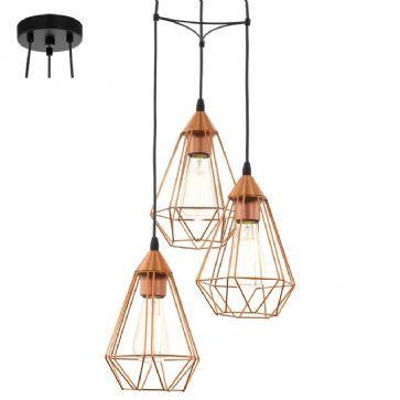 Suspension tarbes cuivre 3 lampes eglo 94196 collection - Suspension luminaire en cuivre ...