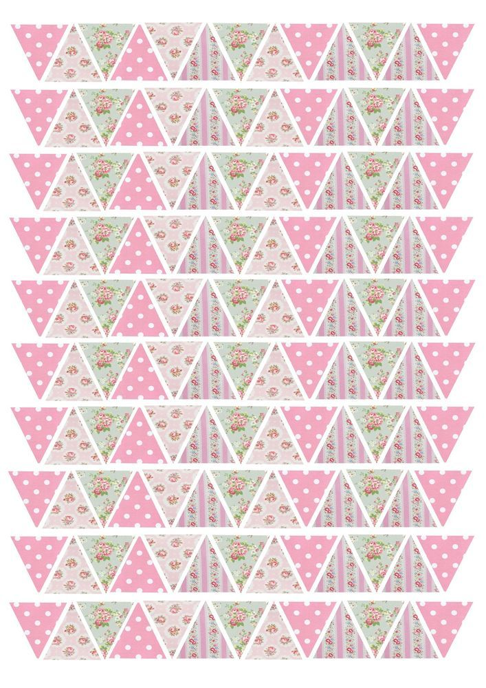 130 or 65 Edible Bunting Flag Pink Shabby Chic Floral Icing Sheet Cake Toppers