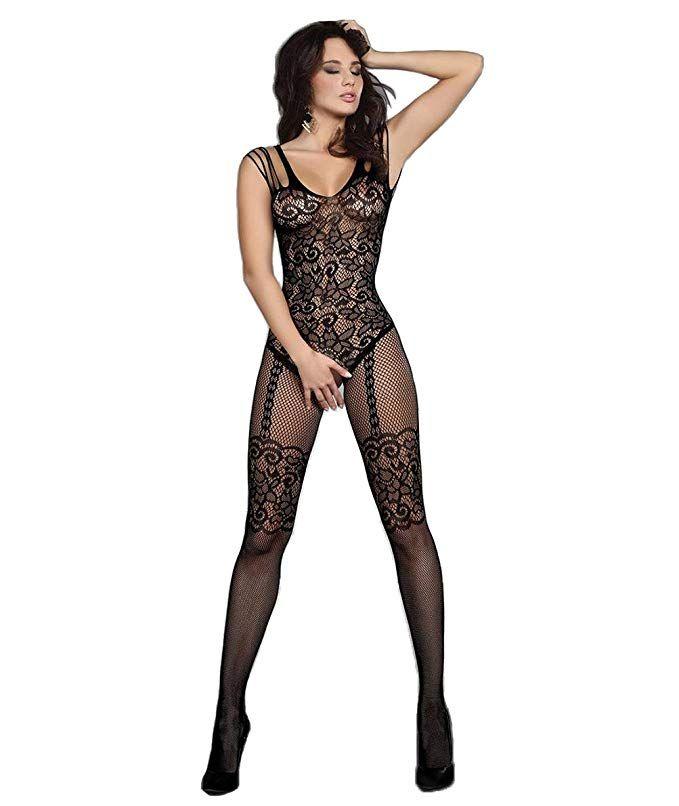 787ba851b26 Abberrki Women Lace Lingerie Fishnet Bodystocking Crotchless Tights  Bodysuit (Black)