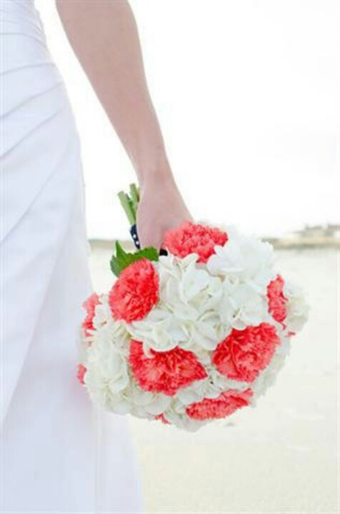 White hydrangea and coral carnation bouquet w/ navy wrap...lovely pop of color on the beach...