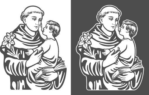 Disegno vettoriale di Sant'Antonio di Padova per plotter da taglio, sabbiatura e incisione.