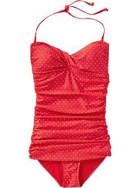 Women's Polkadot Red Bathing Suit from Old Navy - I have it in black, but this is a fun print #splendidsummer