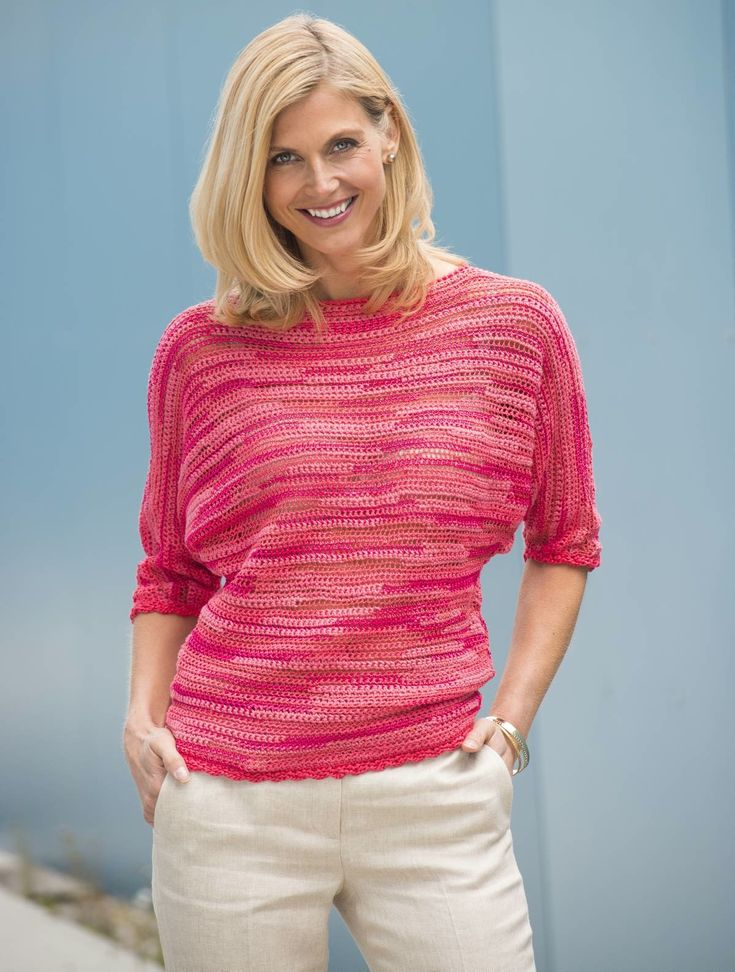 Crochet Summer top made of Ella from Lang Yarns. Fine, elegant texture effect yarn with variation in yarn structure. Matt/shiny and transparent/opaque elements give character to this classy yarn.38% Cotton, 30% Polyester, 26% Viscose, 6% Nylon. Hook no. 5.