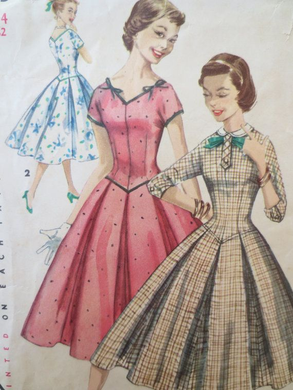 Vintage Simplicity 1323 Sewing Pattern, 1950s Dress Pattern, Rockabilly Dress, Full Skirt, Long Waist,  Bust 32, Vintage Sewing Supply