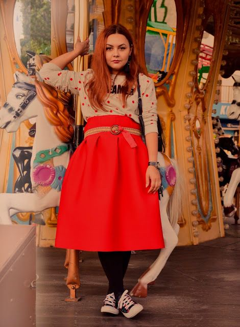 Carousel Fairy tale 🎠, red skirt, dots blouse. red hair