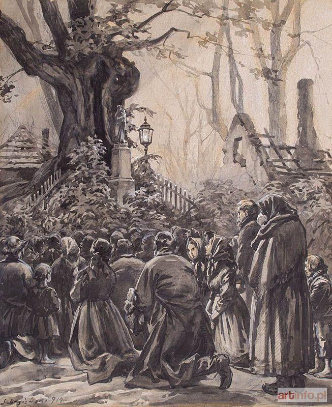Stanisław BAGIEŃSKI ● MODLITWA DO MATKI BOSKIEJ, 1914 ● Aukcja ● Artinfo.pl