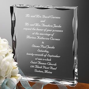 """What a cool way to commemorate your wedding invitation! The """"Our Wedding Invitation"""" Engraved Keepsake from PersonalizationMall captures every word of your actual invitation so you can treasure it forever! Great Wedding Gift idea! #Wedding #Invitation"""