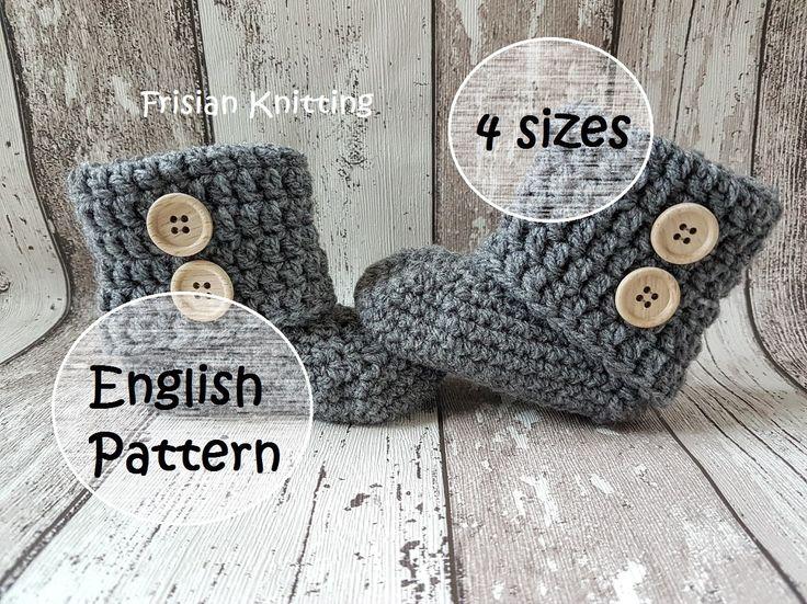 Patroon gehaakte baby booties, baby slofjes, baby schoentjes, baby uggs, Engels haakpatroon, crochet pattern, 4 sizes door Frisianknitting op Etsy
