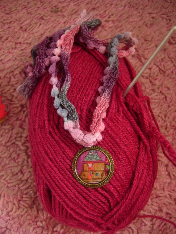 The Knitting Girl   mixed media art illustrated fiber by eltsamp, $28.00