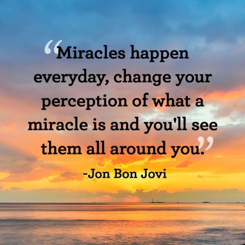"""""""Miracles happen everyday, change your perception of what a miracle is and you'll see them all around you."""""""