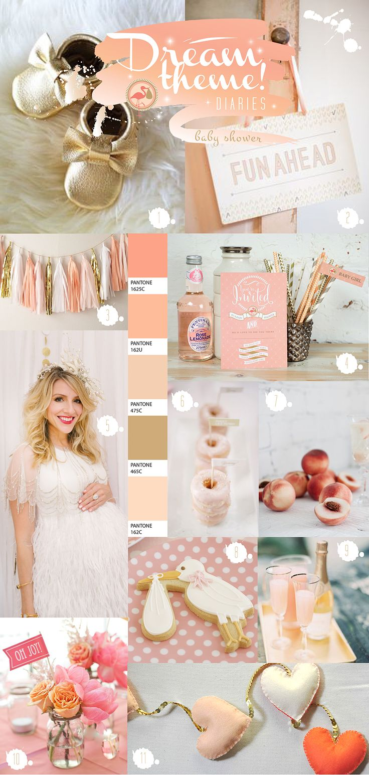 Peach theme baby shower ideas by Paperknots:  http://www.paperknots.co.uk/peach-baby-shower/