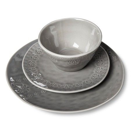 Darby Way Dinnerware Set 12-pc. Light Grey - Beekman 1802 FarmHouse™ : Target