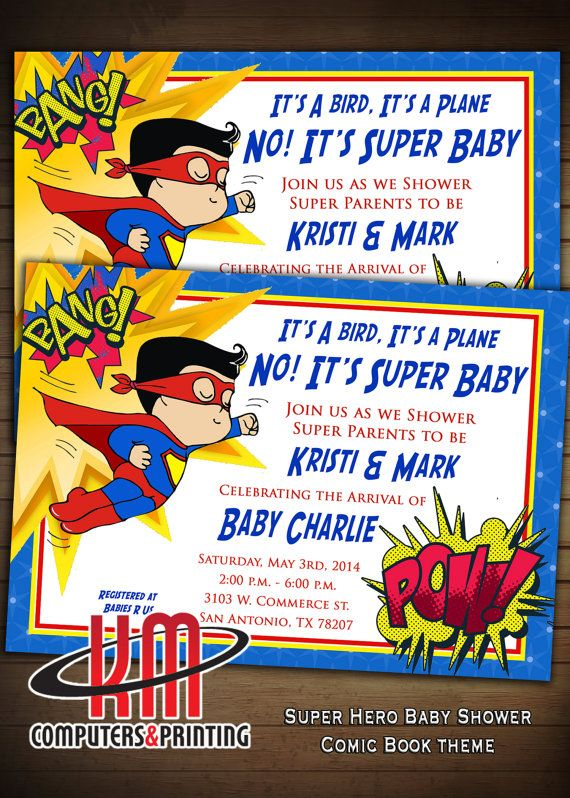 Super Hero  Baby Shower  Invitations PRINTED Matte by KmPrinting, $1.00