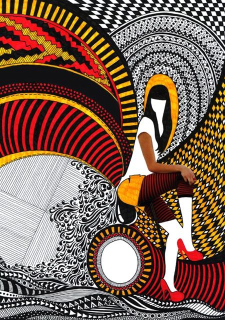 Cool Zentagle/Mixed Media Artist: Nikki Farquharson, Mixedmedia, Media Girls, Graphics Design, Posters Ideas, Mixed Media Art, Bold Colors, Farquharson Mixed, Fashion Illustrations