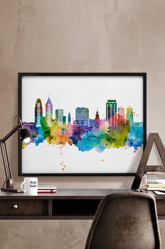 Philadelphia skyline, watercolor Philadelphia, Art Print, Philadelphia poster, Pennsylvania cityscape, City Wall art, Artwork, Home Decor,