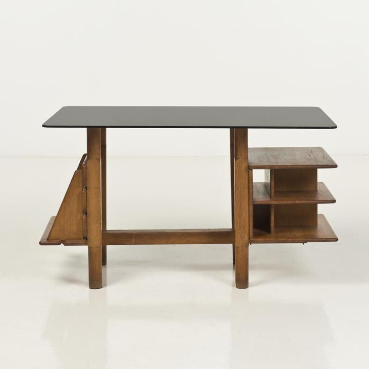 Charlotte Perriand; Unique Wood and Smoked Glass Desk for Jules Alazard, c1950.