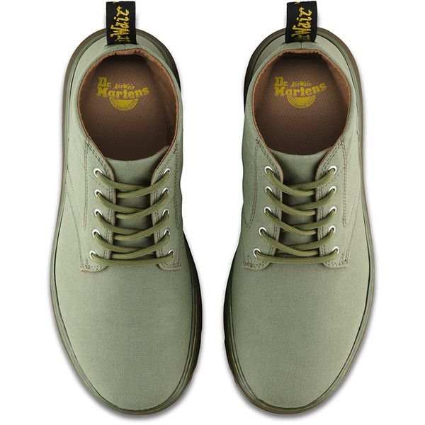 Dr. Martens Canvas Bonny Hiking Boots ($85) ❤ liked on Polyvore featuring shoes, boots, mid khaki, light weight hiking boots, wide width shoes, wide width hiking boots, chukka boots and khaki boots