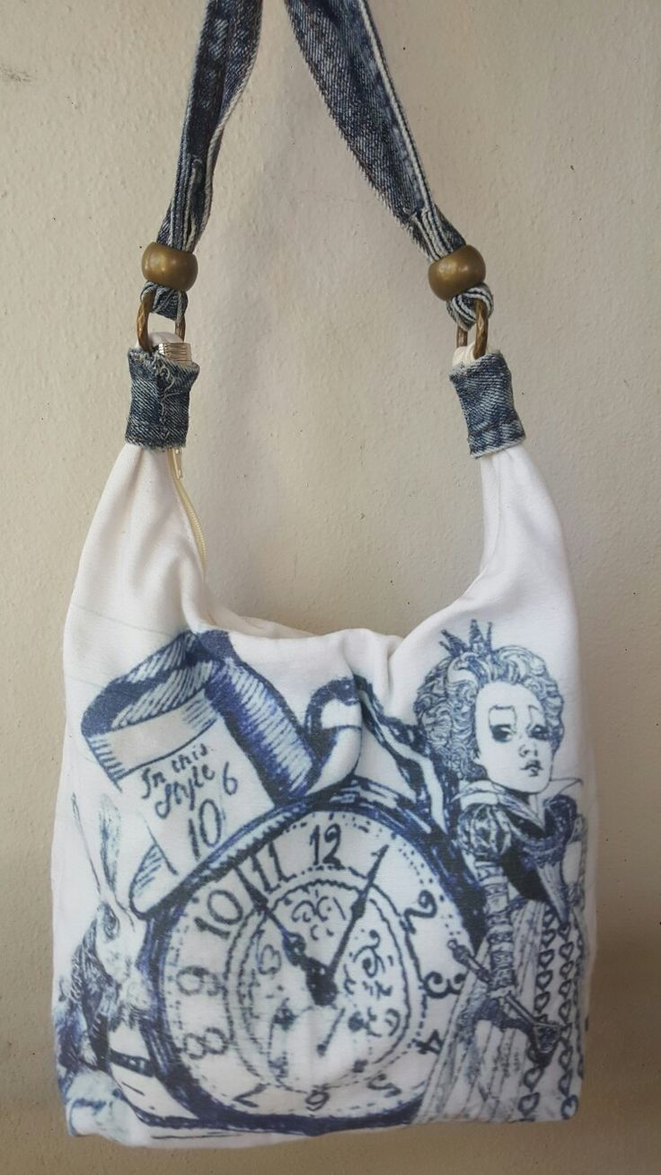 Hand drawn Alice characters on canvas bag