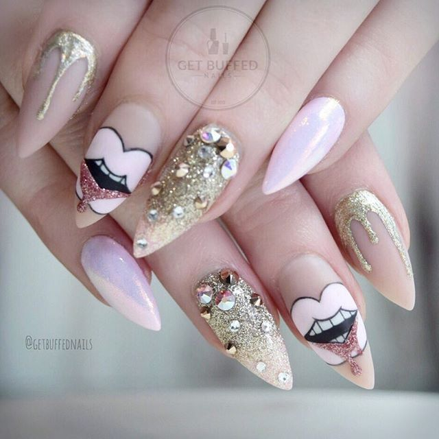 Glittery Pink and Gold Paint Drip Stiletto Nails Inspired by Vladamua.