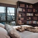Comfy Bedroom Design Ideas with L Shaped Bookshelves in The Corner