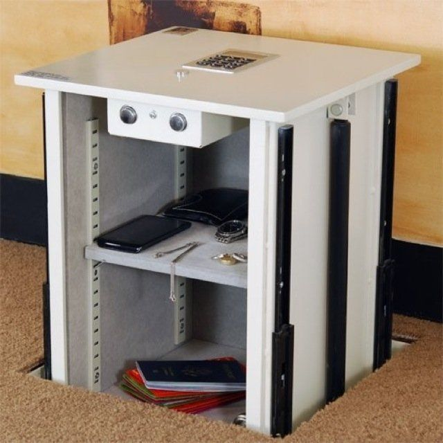 $1155 Protex LIFTO-1414 Auto-Lift Floor Safe: Upright safe with a unique design that allows you to enter a 4-digit personal code and the safe will automatically unlock itself and lift up. It is one of a kind and provides added security and easy access.