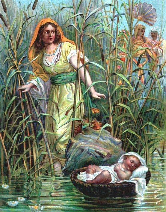 "Exodus 2:5 Soon Pharaoh's daughter came down to bathe in the river, and her attendants walked along the riverbank. When the princess saw the basket among the reeds, she sent her maid to get it for her. 6 When the princess opened it, she saw the baby. The little boy was crying, and she felt sorry for him. ""This must be one of the Hebrew children,"" she said."