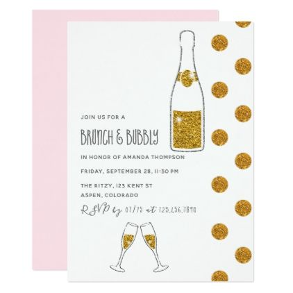Bridal Brunch and Bubbly Wedding Shower Invitation - engagement gifts ideas diy special unique personalize