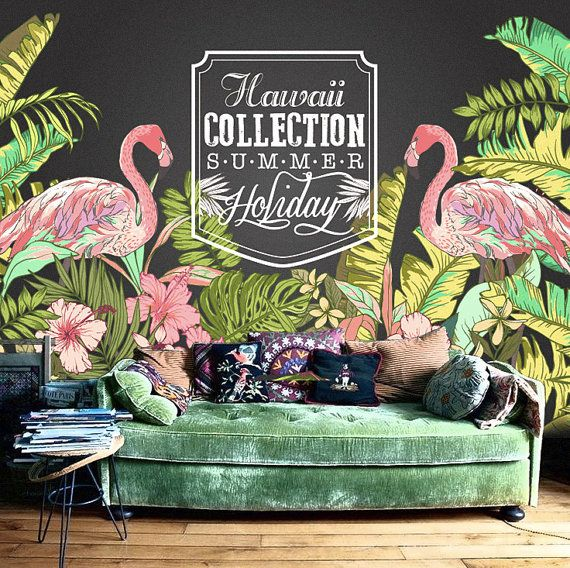 "Hawaii Flamingo Wallpaper Tropical Plant Forest Summer Holiday Wall Mural Wall Paper Trees Leaves Green Nature 55"" x 36.5"""