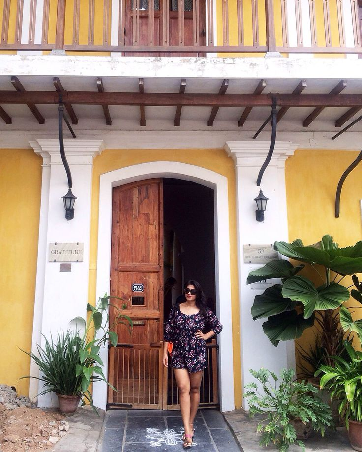 @ujjwala_n Travel weekend at Pondicherry, India. Beach diaries, doors, prettydoors, pretty doors, vacay, outfit, vacation, summer outfit,city, europe french colonial colony architecture decor french decor, green therpy, yellow walls, colorful walls, interior decor french interior