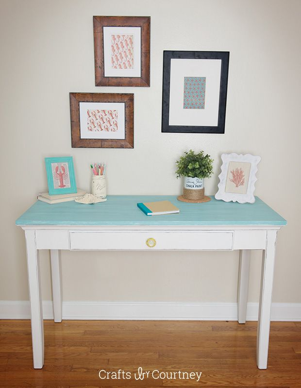 A lovely desk makeover with Provence and Pure White Chalk Paint® decorative paint by Annie Sloan | By Crafts by Courtney