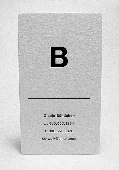 Gisele's minimalist business card.    Clean/Classy but maybe with the mounta...