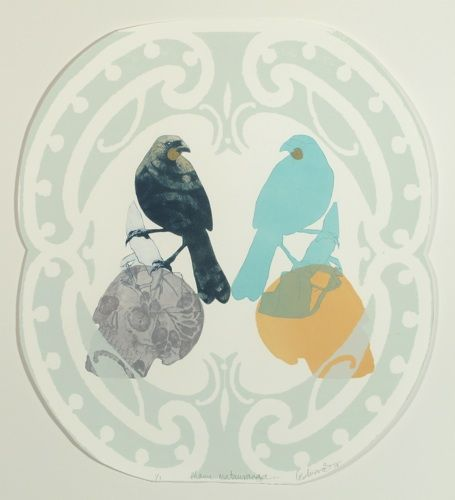 Vanessa Edwards, Manu matauranga (knowledge birds), drypoint & screenprint (framed) on 250 x 250 mm paper, 1 of 1, 2013. NZ$460 incl GST.